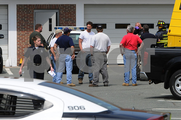 Beverly:<br /> The scene outside the police station where a suspicious package caused cocncern for the police and fire departments.<br /> Photo by Ken Yuszkus/Salem News, Friday May 8, 2009.