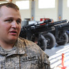 Danvers:<br /> Nathan Davis of the 101st Field Artillery, 2nd Corps, Mass. National Guard, speaks about his recent  tour in Afghanistan.<br /> Photo by Ken Yuszkus/Salem News, Thursday, May 26, 2011.