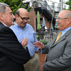 Danvers:<br /> From left, William Tinti, Bruce Amaro, and Nelson Benton talk at Nelson Benton's retirement party which was held at the Danvers Yatch Club.<br /> Photo by Ken Yuszkus/Salem News, Wednesday, June 27,  2012.