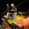Salem:<br /> Gary LaParl, left, and John Fogle move materials for  construction of the stage at the Salem Theatre Company.<br /> Photo by Ken Yuszkus/Salem News, Monday, February 1, 2010.