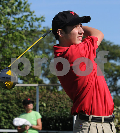 Marblehead:<br /> Garrette Calahan tees off at the alumni game at the  Tedesco Country Club. He is with the Marblehead golf team .<br /> Photo by Ken Yuszkus/Salem News, Sunday, September 13, 2009.