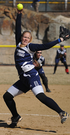 Beverly:<br /> Claire Bennett, Gordon College pitcher, winds up for a pitch during the Gordon at Endicott College softball game.<br /> Photo by Ken Yuszkus/Salem News, Tuesday, March 29, 2011.