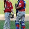 Beverly:<br /> Boxford pitcher, Kyle Casey, left, talks with the catcher, Joe DeBlasio, at the pitcher's mound early in the Boxford vs Danvers American District 15 Little League all-star game at Harry Ball field.<br /> Photo by Ken Yuszkus/Salem News, Monday, July 11, 2011.