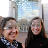 Salem:<br /> From left, Jessica Barry, and Callie Atchue, both Endicott College seniors, stand in front of the Peabody Essex Museum where they have been interning.<br /> Photo by Ken Yuszkus/Salem News, Monday, November 10, 2008.