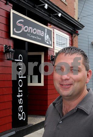 Salem:<br /> Steven Belakonis, owner of the new restaurant, Sonoma gastropub, opened this week. <br /> Photo by Ken Yuszkus/Salem News, Tuesday, June 23, 2009.