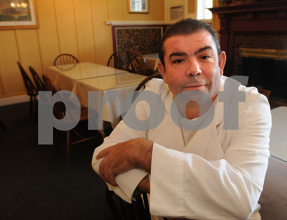 Beverly:<br /> Joe Dias is the new chef at Cafe Diciannove which is scheduled to open at the Beverly Golf and Tennis Club. He is sitting in the dinning room of the restaurant.<br /> Photo by Ken Yuszkus/Salem News, Wednesday September 11, 2008.