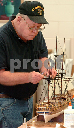 Peabody:<br /> Ed Shepherd of Swampscott, works on the rigging of his model ship, Royal Caroline, during the model shipbuilding class at the Peter A. Torigian Community Life Center.<br /> Photo by Ken Yuszkus/Salem News, Monday, March 16, 2009.