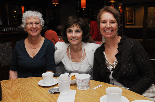 Danvers:<br /> From left, Katie Finch from Ipswich, of Realpro Associates, Marianne Pantelakis from Salem, of the Legal Team of Marianne Pantelakis, and Noreen Cavanaugh from Salem, a consultant to non-profits, fund raising and grant writing, at the North Shore Business Forum at the Danversport Yacht Club in Danvers on Friday morning.<br /> Photo by Ken Yuszkus/Salem News, Friday, June 4, 2010.