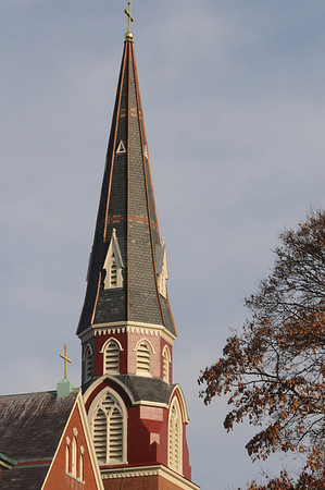 Peabody:<br /> The steeple of St. John the Baptist Church recently had repairs and renovations completed.<br /> Photo by Ken Yuszkus/Salem News, Friday,  December 3, 2010.