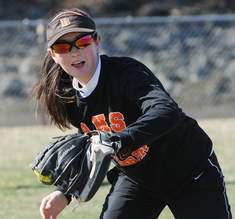 Beverly:<br /> Alex Coults during Beverly High softball practice at Innocenti Field.<br /> Photo by Ken Yuszkus/Salem News, Tuesday, April 3, 2012.