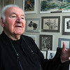 Marblehead:<br /> George Eisenberg, WWII vet and renowned illustrator, at his studio.<br /> Photo by Ken Yuszkus/Salem News, Thursday, May 26, 2011.