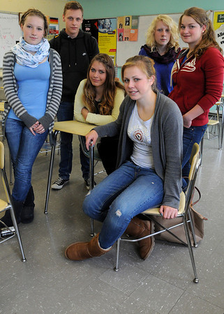 Beverly:<br /> From left, Silja Carstenn, Jan Heimann, Lea Westermann, Lisa Boldt, Hilke Kluts, and Lena Sehott, who are all German students visiting Beverly High School.<br /> Photo by Ken Yuszkus/Salem News, Tuesday,  October 12, 2010.