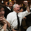 Beverly:<br /> Mayor Bill Scanlon, center, with his wife Louise, left, react to winning the Beverly mayorial race.<br /> Photo by Ken Yuszkus/Salem News, Tuesday, November 8, 2011.