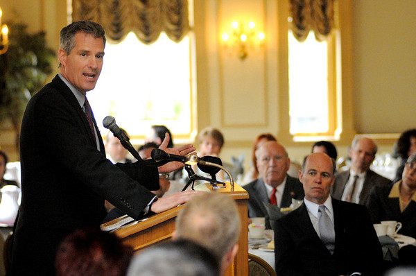 Salem:<br /> Senator Scott Brown spoke at the Salem Chamber of Commerce luncheon held at the Hawthorne Hotel.<br /> Photo by Ken Yuszkus/Salem News, Wednesday, April 20, 2011.