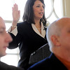 Salem:<br /> Mayor Kimberley Driscoll took the oath of office for her second term during her inaugural ceremony at Old Town Hall.<br /> Photo by Ken Yuszkus/Salem News, Monday, January 4, 2010