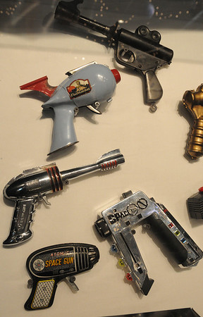 Wenham:<br /> Various toy ray guns from various times on display  at the new exhibit at the Wenham Museum.<br /> Photo by Ken Yuszkus/Salem News, Thursday, June 16, 2011.