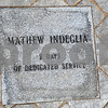 Salem;<br /> The stone with Mathew Indeglia's name inscribed  at the memorial that was built at the Salem power plant. It is a rememberance for the three workers killed at the power plant one year ago.<br /> Photo by Ken Yuszkus/Salem News, Wednesday, November 5, 2008.
