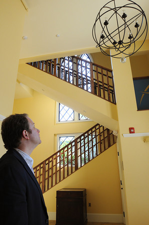 Salem:<br /> Rev. Jeffrey Barz-Snell stands near the stairway inside the new addition at the  First Church in Salem, Unitarian.<br /> Photo by Ken Yuszkus/Salem News, Thursday, May 17, 2012.