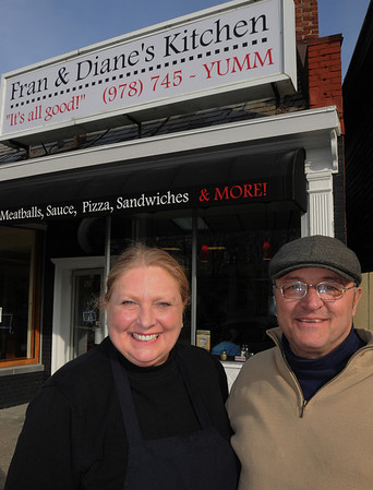 Salem:<br /> Diane Hamlen and Fran Riggieri stand in front of their recently opened restraurant, Fran & Diane's Kitchen.<br /> Photo by Ken Yuszkus/Salem News, Tuesday, February 2, 2010.