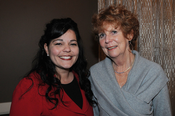 Danvers:<br /> Georgianna Melendez, left, who is the speaker, stands with Susan Fletcher at the Dr. Martin Luther King Jr. Awards Dinner monday evening at the Danversport Yacht Club.<br /> Photo by Ken Yuszkus/Salem News, Monday, January 16, 2012.
