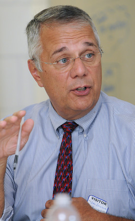"""Salem:<br /> Dr. John Brackett has been sent to Salem by the state department of education to work as a """"plan manager"""" for the districts improvement plan. <br /> Photo by Ken Yuszkus/The Salem News, Friday, September 7, 2012."""