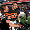 Foxboro:<br /> Marc Babcock, left, and Rob Cattell rejoice after Beverly won the Beverly vs Scituate in the Division 3 Super Bowl at Gillette Stadium on Saturday.<br /> Photo by Ken Yuszkus/Salem News, Saturday, December 4, 2010.