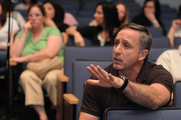 Topsfield:<br /> Angelo Trodella speaks from the audience at Masconomet Regional High School during the informational forum concerning the bullying problem at the Fuller Meadow School.<br /> Photo by Ken Yuszkus/Salem News, Wednesday, April 7, 2010.