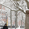 Salem:<br /> Patty Parady of Salem is out walking her dog, Max,  in the light snow in Salem Common on Sunday morning.<br /> Photo by Ken Yuszkus/Salem News, Sunday, February 27, 2011.