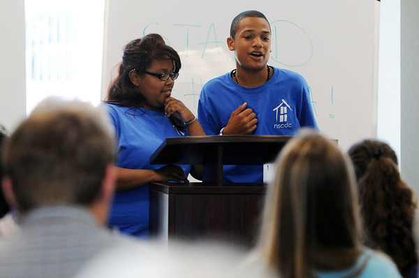 Salem:<br /> Barbara Rivera and Michael Sanchez speak about their findings during the STAND presentation. Kids from the Point concluded a summer long project investigating problems in the Point and Gloucester Crossing.<br /> Photo by Ken Yuszkus/Salem News, Thursday, August 11, 2011.