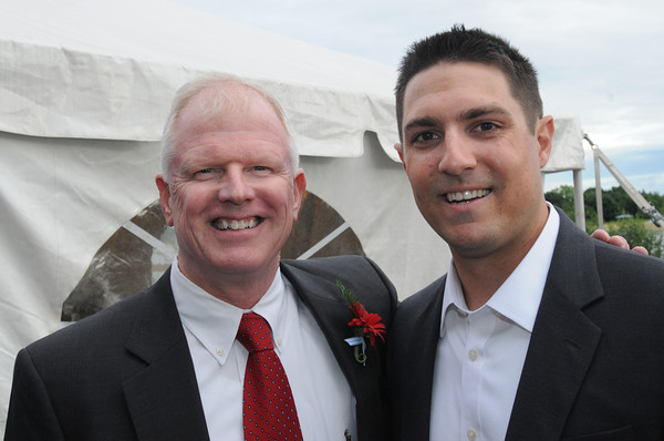 Danvers:<br /> Art Cronin, left, who organized The Frates Friends and Family Night: A Fundraiser To Benefit The Pete Frates #3 Fund, stands with Peter Frates. Pete Frates, a former St. John's Prep and Boston College baseball star from Beverly stricken with ALS<br /> Photo by Ken Yuszkus/Salem News, Wednesday, June 27,  2012.