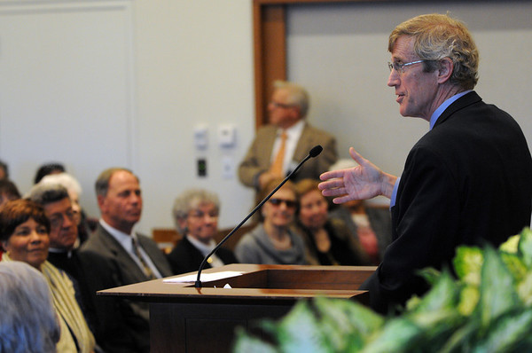 Salem:<br /> Robert Cordy, Associate Justice, Supreme Judicial Court, speaks at the J. Michael Ruane Judicial Center opening ceremony.<br /> Photo by Ken Yuszkus/Salem News, Tuesday,  February 28, 2012.