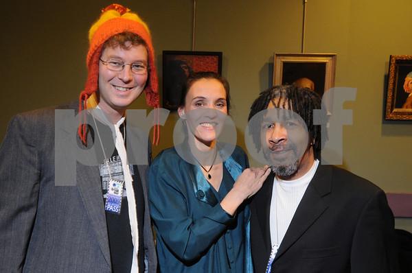 Salem:<br /> From left, Don Nadeau of Beverly, Jag Green and Darrell Bibby, both of Salem, attend the Academy Award Party at Cinema Salem.<br /> Photo by Ken Yuszkus/Salem News, Sunday,  February 22, 2009.