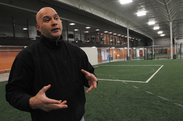 Danvers:<br /> Kelly Cragg talks about his indoor sports complex and the popularity of such buildings while at his Danvers Indoor Sports.<br /> Photo by Ken Yuszkus/Salem News, Friday,  March 9, 2012.