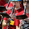 Salem:<br /> Amanda Lum plays the clarinet while wearing a distinctive hat during the Salem High School marching band demonstration for the public Friday morning. They were finishing up a week of band camp.<br /> Photo by Ken Yuszkus/The Salem News, Friday, August 24, 2012.