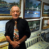 """Beverly:<br /> Donald """"Nino"""" Lombardi stands in his art gallery at his home in Beverly. <br /> Photo by Ken Yuszkus/Salem News, Friday,  October 8, 2010."""