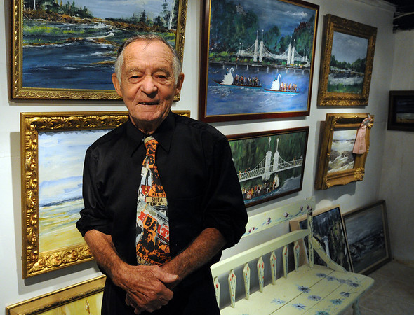 "Beverly:<br /> Donald ""Nino"" Lombardi stands in his art gallery at his home in Beverly. <br /> Photo by Ken Yuszkus/Salem News, Friday,  October 8, 2010."