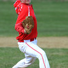 Salem;<br /> Chris Boucher is warming up on the pitcher's mound before the Salem High baseball scrimmage with North Reading.<br /> Photo by Ken Yuszkus/Salem News, Thursday, April 5, 2012.