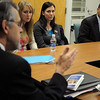 Salem:<br /> Gov. Deval Patrick, right, listens to Paul Reville, left, Massachusetts Secretary of Education, speak at Salem State College during a meeting with students before his formal speech at the college. Right of Paul Reville is Helena Paputseanos and Jolyn DeGeorge, both college seniors and both education majors.<br /> Photo by Ken Yuszkus/Salem News, Friday November 13, 2009.