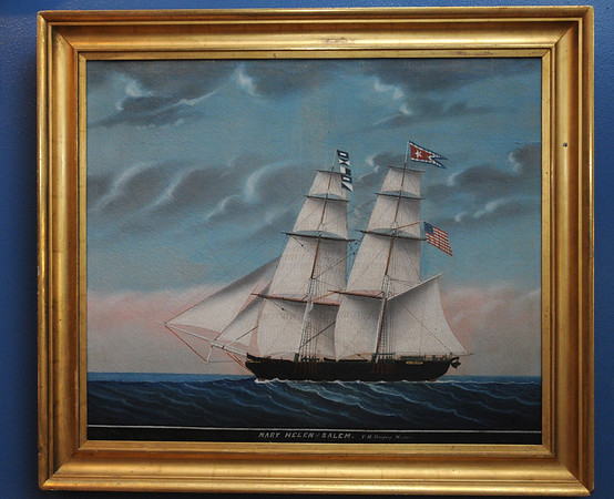 """Marblehead:<br /> This painting is part of the new exhibit, """"Marblehead Ship Captains and the Ships in Which They Sailed"""". The exhibit celebrates Marblehead's maritime traditions, salutes her sea captains, and displays portraits and models of the vessels they sailed. This painting is of the ship, Mary Helen of Salem which had a captain from Marblehead<br /> Photo by Ken Yuszkus/Salem News, Tuesday, November 8, 2011."""