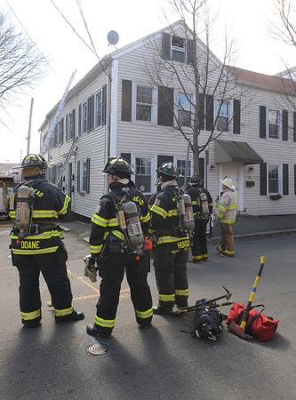 Salem:<br /> The fire scene on Northey Street in Salem on Thursday afternoon.<br /> Photo by Ken Yuszkus/Salem News, Thursday, April 5, 2012.