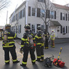 Salem:<br /> The fire scene on Northey Street in Salem on Thursday afternoon.<br /> Photo by Ken Yuszkus/Salem News, Thursday, April 5, 2012.