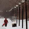 Salem:<br /> Chris Minkiewicz walks her dog, Ariel, on the walkway which runs along Collins Cove in Salem on a wintery Wednesday morning.<br /> Photo by Ken Yuszkus/Salem News, Wednesday, February 2, 2011.