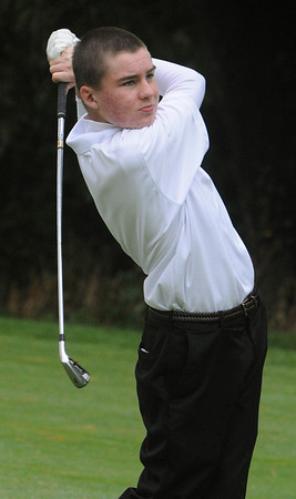 Peabody:<br /> St. John's Prep's Josh Wingardner hits the ball off the 3rd tee during the Catholic Memorial at St. John's Prep golf match held at Salem Country Club.<br /> Photo by Ken Yuszkus/Salem News, Thursday, October 13, 2011.