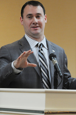 Peabody:<br /> Mayor Ted Bettencourt presents his first State of the City address at the breakfast sponsored by the Peabody Area Chamber of Commerce at the Holiday Inn.<br /> Photo by Ken Yuszkus/Salem News, Wednesday, January 25, 2012.