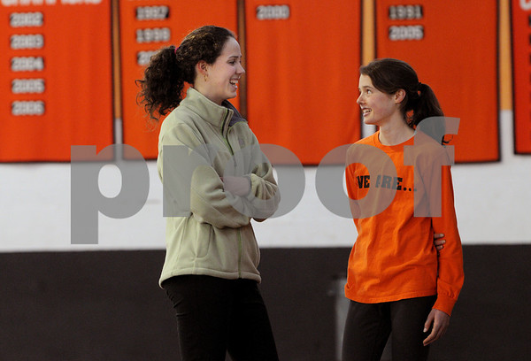 Beverly:<br /> Monica Adler, left, and Millie Chapman, both juniors, are Beverly track standouts.<br /> Photo by Ken Yuszkus/Salem News, Wednesday March 4, 2009.