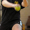 Peabody:<br /> Bishop Fenwick's Taylor Ahearn gets in some pitching at softball practice in the gym at Bishop Fenwick on Tuesday.<br /> Photo by Ken Yuszkus/Salem News, Tuesday, April 19, 2011.