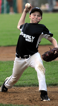 Beverly:<br /> Beverly West's pitcher Spencer Brown throws one toward the plate during the Beverly West vs. Beverly East in District 15 Little League Williamsport all-star game at Harry Ball Field.<br /> Photo by Ken Yuszkus/Salem News, Monday, July 2,  2012.