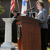 Salem;<br /> Patricia Meservey of Salem State University speaks during the rededication of the WWII memorial located on the grounds of Salem State University. The memorial is on the left in the photo.<br /> Photo by Ken Yuszkus/The Salem News, Monday, September 17, 2012.
