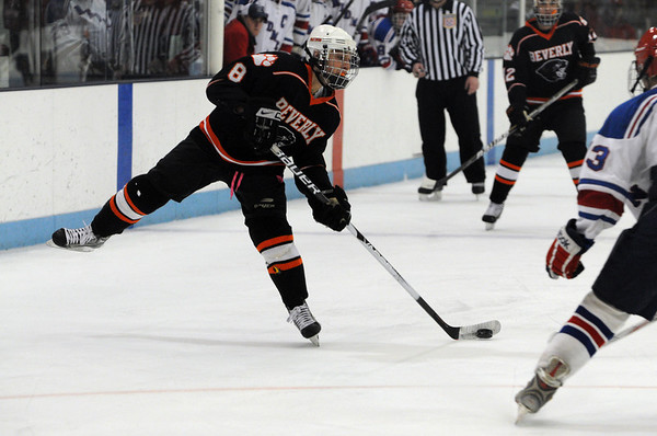 North Billerica:<br /> Tony Cabral takes a shot during the Beverly High School boys hockey game in Division 2 North semifinals vs Tewksbury at the Chelmsford Forum hockey rink.<br /> Photo by Ken Yuszkus/Salem News, Tuesday March 8, 2011.