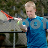 Danvers:<br /> Singles player captain Karl Bengtsson of the Danvers High boys tennis, practices at the Plains Park tennis courts.<br /> Photo by Ken Yuszkus/Salem News, Thursday, April 2, 2009.